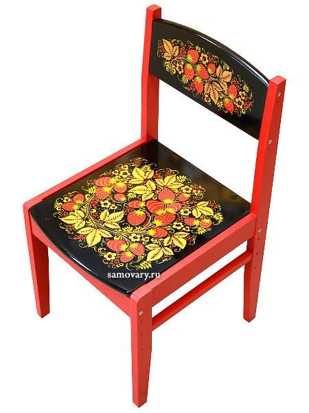 Деревянный детский стул Кроха растущий с росписью Хохлома