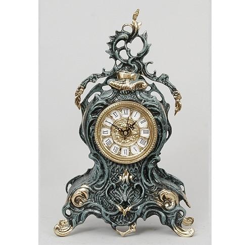 Часы каминные бронзовые с завитком