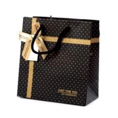 Подарочный пакет Черный с бантом