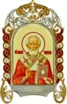 Настольная серебряная икона с образом святителя Николая Чудотворца
