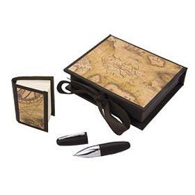 Ручка с запасным стержнем и блокнотом, черная