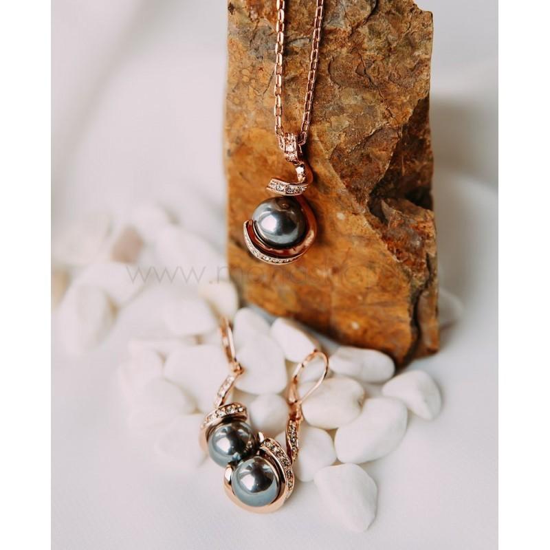 Комплект «Забвение» с черным жемчугом и кристаллами