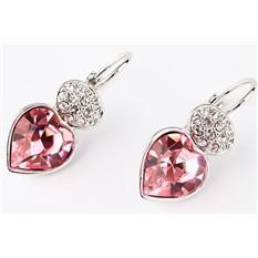 Серьги с кристаллами Swarovski Мечта Сердце розовые