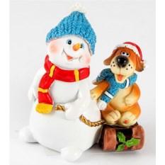 Декоративная фигурка Собачка и снеговик