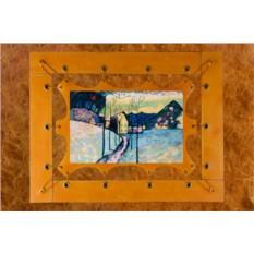 Картина из кожи Зимний пейзаж В.Кандинский