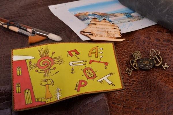Желтая кожаная обложка для паспорта Altamira