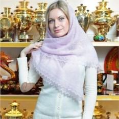 Пуховый оренбургский платок (паутинка, цвет: сиреневый)