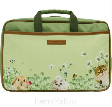 Стильный женский портфель с собачками и кошками «Прятки»