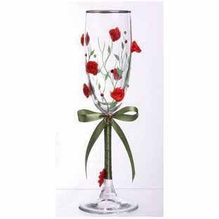 Свадебный бокал с серебряной каймой