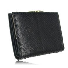 Черный женский кошелек из кожи питона