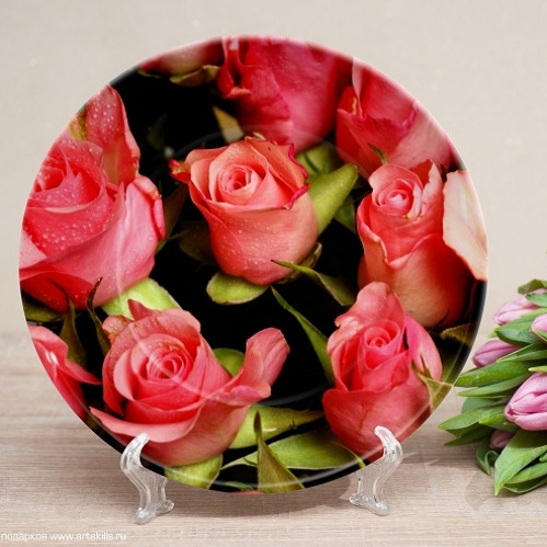 Именная тарелка Красные Розы