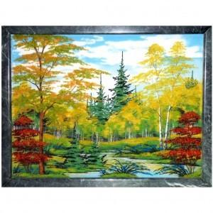 Картина из каменной крошки на массиве камня Золотая осень