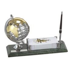 Мраморный настольный набор из ручки, визитницы, глобуса