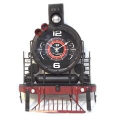 Декоративные часы с вешалкой на 4 крючка Паровоз