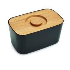 Чёрная стальная хлебница с разделочной доской из бамбука