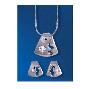 Комплект (кулон+серьги) с кристаллом