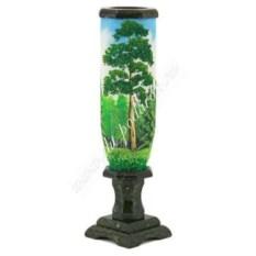 Круглая ваза с рисунком из змеевика