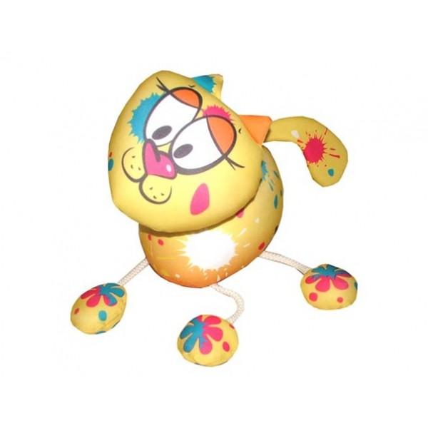 Желтая антистрессовая игрушка Кошка на веревках