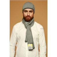 Серый мужской комплект из шапки и шарфа Navigare