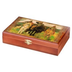 Домино в деревянной шкатулке Три богатыря