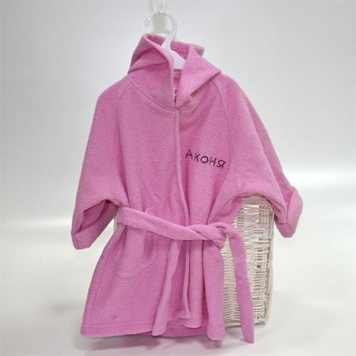 Розовый банный халат с именем малышки