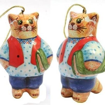 Ёлочная игрушка Кот с книгой