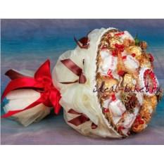 Белый букет конфет с поздравительной надписью