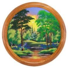 Панно на тарелке из сосны Летний пейзаж (50 см)