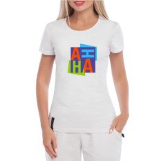 Белая именная женская футболка Кубики