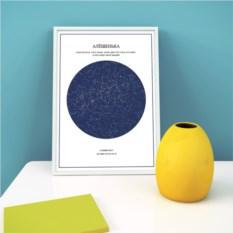 Уникальный постер «Карта Звёзд» (цвет: сирень-белый)