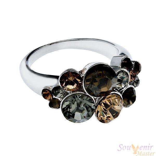 Кольцо с кристаллами Swarovski Водопад, мини
