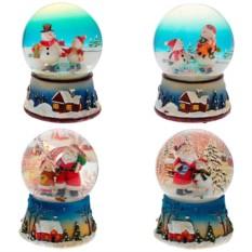 Фигурка в стеклянном шаре с музыкой Санта и снеговик