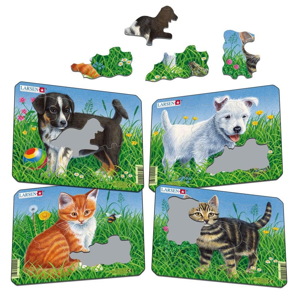 Пазлы для детей Larsen «Кошки и собаки»