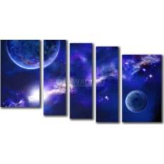Модульная картина «Две планеты» 55×29 см