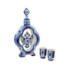 Штоф для водки с двумя стопками «Герб России»