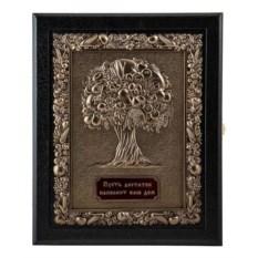 Настенная кожаная ключница Древо изобилия