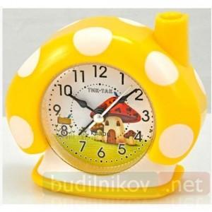Детский кварцевый будильник Тик-Так Гриб (желтый)