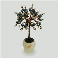 Дерево счастья из черного жемчуга в вазочке из оникса