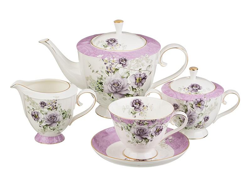 Бело-лиловый чайный сервиз на 6 персон 15 предметов