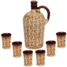 Набор из штофа Дионис с шестью рюмками ручной работы