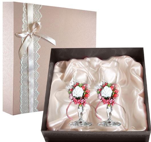 Набор свадебных бокалов в подарочной коробке Ретро №2