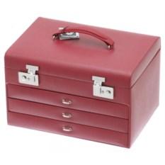 Красная шкатулка для украшений с выдвижными ящиками Davidt's