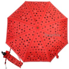 Красный складной женский зонт с принтом Moschino New Hearts
