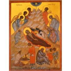 Копия иконы XVI века на доске Рождество Христово