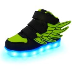 LED кроссовки с зелеными крыльями