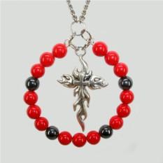 Кулон из коралла и гематита Огненный крест
