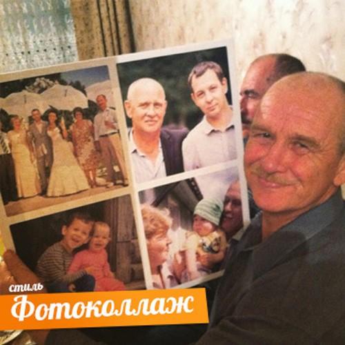 Фотоколлаж из семейных фото на холсте