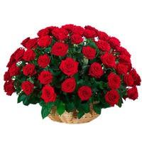 Корзина роз 51 красная роза