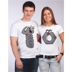 Парные футболки Винтик и гайка