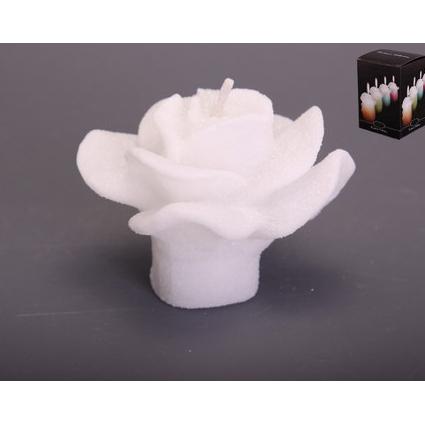 Свеча «Роза» велюр белая